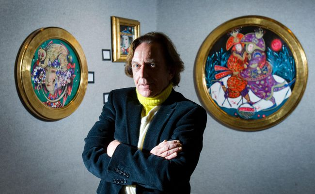 Toller Cranston, poses among his artwork on at the Art Work Store in Sherway Gardens Mall in Toronto on Nov. 4, 2010. (Ernest Doroszuk/Toronto Sun)