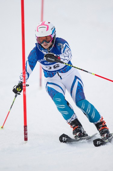 Donya Nero races during the 7th annual Snow Valley Masters Slalom Race held at Snow Valley Ski Club in Edmonton, Alta., on Sunday, Jan. 25, 2015. Ian Kucerak/Edmonton Sun/ QMI Agency