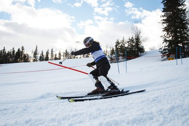 Anatoliy Lyasota races during the 7th annual Snow Valley Masters Slalom Race held at Snow Valley Ski Club in Edmonton, Alta., on Sunday, Jan. 25, 2015. Ian Kucerak/Edmonton Sun/ QMI Agency