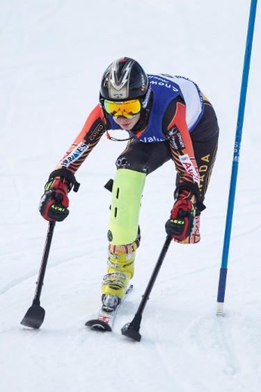 Trinity Tratch races during the 7th annual Snow Valley Masters Slalom Race held at Snow Valley Ski Club in Edmonton, Alta., on Sunday, Jan. 25, 2015. Ian Kucerak/Edmonton Sun/ QMI Agency