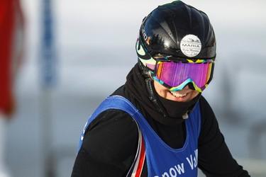 Maria Yakula races during the 7th annual Snow Valley Masters Slalom Race held at Snow Valley Ski Club in Edmonton, Alta., on Sunday, Jan. 25, 2015. Ian Kucerak/Edmonton Sun/ QMI Agency
