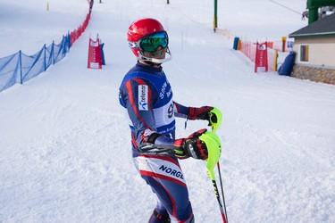 Derek Mortson races during the 7th annual Snow Valley Masters Slalom Race held at Snow Valley Ski Club in Edmonton, Alta., on Sunday, Jan. 25, 2015. Ian Kucerak/Edmonton Sun/ QMI Agency