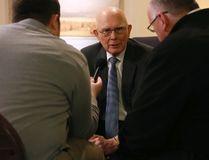 Dallin H Oaks, an elder in The Church of Jesus Christ of Latter-Day Saints, speaks to the media in Salt Lake City, Jan. 27, 2015. (JIM URQUHART/Reuters)
