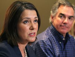 Danielle Smith, left, and Premier Jim Prentice. (Edmonton Sun)
