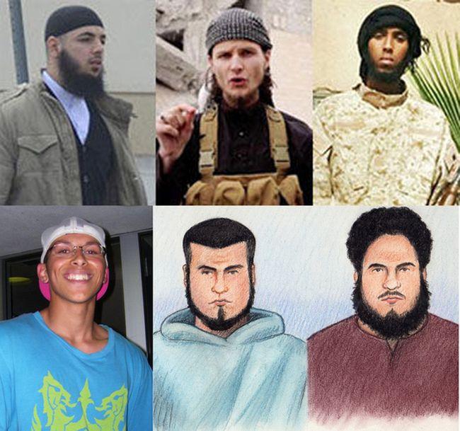 From top left, Awso Peshdary, John Maguire, Khadar Khalib, Suliman Mohamed, Carlos Larmond and Ashton Larmond all face terror-related charges. OTTAWA SUN FILES