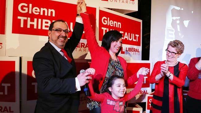 Ont. MPP-elect Glenn Thibeault celebrates his election victory with wife, Yolanda, daughter, Thea, and Ontario Premier Kathleen Wynne Sudbury, Thursday, Feb. 5, 2015. (JOHN LAPPA/QMI AGENCY)