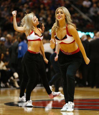 Raptors Dance Pak. Toronto Raptors vs. the San Antonio Spurs in the first half at the Air Canada Centre in Toronto, Ont. on Sunday February 8, 2015. Jack Boland/Toronto Sun/QMI Agency
