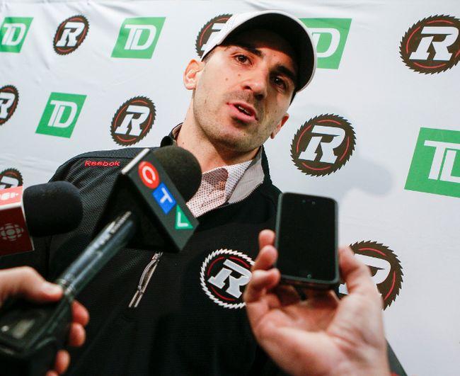 The Ottawa Redblacks have signed former University of Ottawa QB Brad Sinopoli as a receiver. Brad as he is interviewed by members of the Ottawa media. February 11, 2015. (Errol McGihon/Ottawa Sun/QMI Agency)