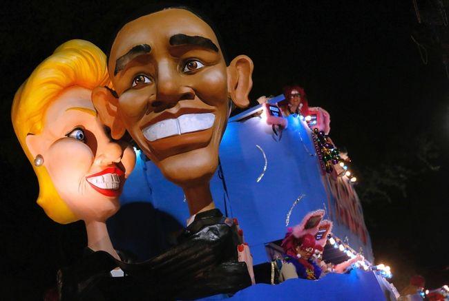 A float depicting President Barack Obama and former Louisiana Senator Mary Landrieu is seen during a Mardi Gras parade in New Orleans, Louisiana February 12, 2015. REUTERS/Jonathan Bachman