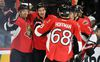 Ottawa Senators players #9 Milan Michalek, #61 Mark Stone, #7 Kyle Turris and #68 Mike Hoffman celebrate a goal against the Edmonton Oilers during first period NHL hockey at the Canadian Tire Centre in Ottawa on Saturday, February 14, 2015.  Matthew Usherwood/Ottawa Sun/QMI Agency