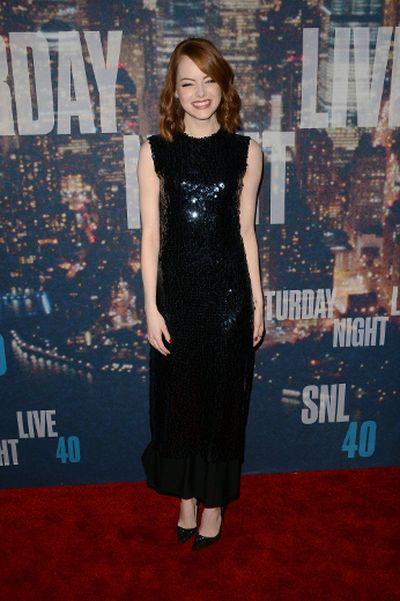 "Emma Stone attends SNL 40th Anniversary Celebration at Rockefeller Plaza on February 15, 2015 in New York City. (Ivan Nikolov/<A HREF=""http://www.wenn.com"" TARGET=""newwindow"">WENN.COM</a>)"