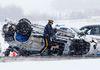 Emergency crews work at the scene of a fatal single vehicle crash along the QEII Hwy. south of Edmonton on Monday Feb. 16, 2015. (David Bloom/Edmonton Sun)