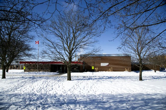 An elderly woman was found dead in front of Maple Lane Public School in Tillsonburg, Ont., Feb. 20, 2015. (DEREK RUTTAN/QMI Agency)