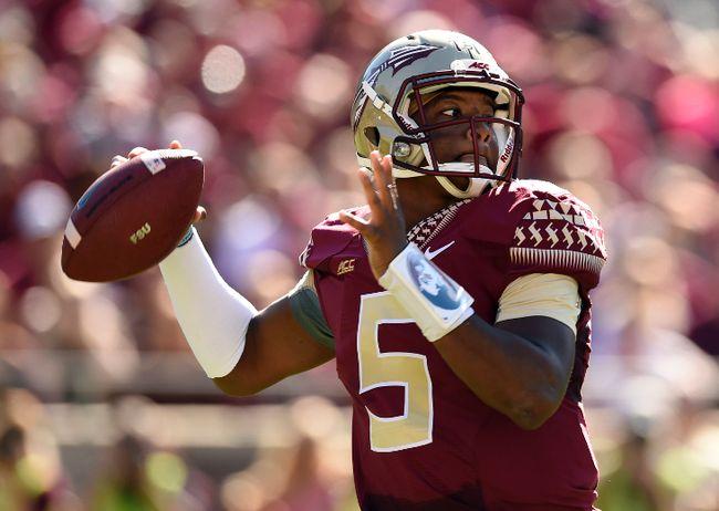 Florida State Seminoles quarterback Jameis Winston gets set to pass against the Wake Forest Demon Deacons during NCAA play at Doak Campbell Stadium last season. (John David Mercer/USA TODAY Sports)