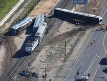 An aerial view shows the scene of a double-decker Metrolink train derailment in Oxnard, California February 24, 2015. REUTERS/Lucy Nicholson