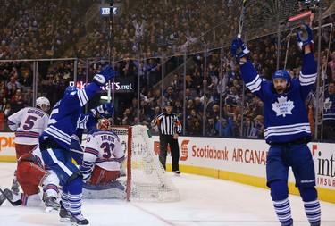 Toronto Maple Leafs  Daniel Winnik scored to make it 4-4 against New York Rangers at the Air Canada Centre on Tuesday February 10, 2015. (Michael Peake/Toronto Sun)
