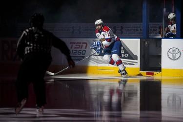 Edmonton forward Brandon Baddock (13) is seen during introductions before a WHL hockey game between the Edmonton Oil Kings and the Red Deer Rebels at Rexall Place in Edmonton, Alta., on Wednesday, Feb. 25, 2015. Ian Kucerak/Edmonton Sun/QMI Agency