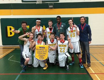 The Lockerby Vikings junior boys basketball team celebrate their NOSSA title last week.