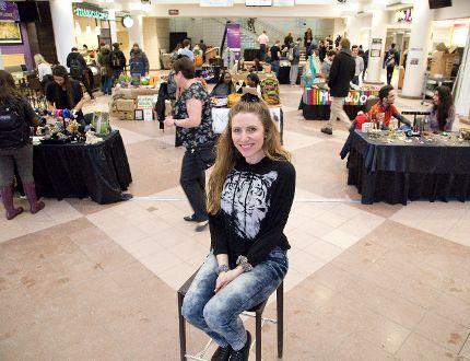 Samantha Laliberte co-ordinated the market Tuesday at Western University.