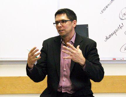 Treaty Relations Commissioner Jamie Wilson at Balmoral School. (Adam Peleshaty, Interlake Publishing, QMI Agency)