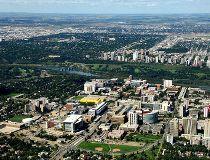 Edmonton Alberta from an airplane.