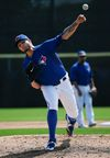 Brett Cecil warms up for the Toronto Blue Jays in Dunedin, Florida. (Stan Behal/Toronto Sun)