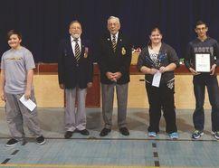 Left, Zane Palmer, Emerson branch members Bill Rolls and Sam Sadler, Cayla Pow and Steven Gruenke. (SUPPLIED PHOTO)