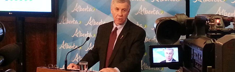 Alberta Finance Minister Robin Campbell discusses Alberta Budget 2015 at the Alberta Legislature, March 26, 2015. (MAX MAUDIE/EDMONTON SUN)