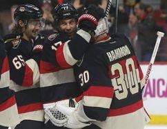 Ottawa Senators goalie Andrew Hammond celebrates a victory against the Boston Bruins in Ottawa. Photo by Tony Caldwell/QMI Agency
