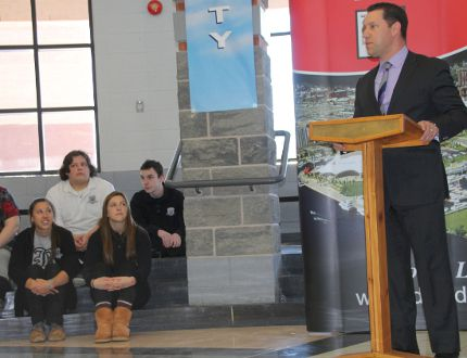 Sault MPP David Orazietti announces funding to renovate St. Basil School.