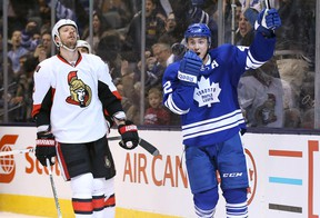 Leafs centre Tyler Bozak celebrates his third goal against the Senators on Saturday. (USA Today Sports)