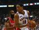 Raptors' DeMar DeRozan (right) is guarded by Rockets star James Harden last night. (Dave Thomas/Toronto Sun)
