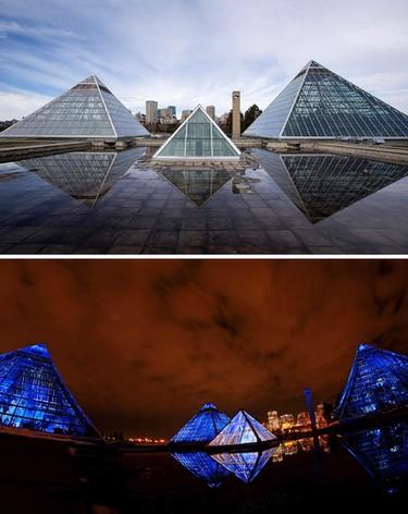 Whether it day-time or night-time the Muttart Conservatory is one of Edmonton most beautiful structure.  Top photo/Ian Kucerak/Edmonton Sun/QMI Agency  Bottom Photo/Hugo Sanchez/Special to the Edmonton Sun
