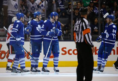 Leafs celebrate James Van Riemsdyk goal during the second period in Toronto on Sunday April 5, 2015. Jack Boland/Toronto Sun/QMI Agency