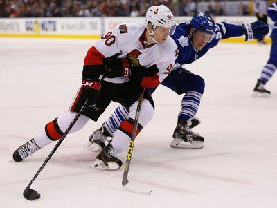 Ottawa Senators Alex Chiasson (90) tries too gain the outside on Toronto Maple Leafs� Jake Gardiner (51) D�during the second period in Toronto on Monday April 6, 2015. Jack Boland/Toronto Sun/QMI Agency