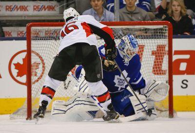 Toronto Maple Leafs� Jonathan Bernier (45) G��stones Ottawa Senators Clarke MacArthur (16) in the shootout in Toronto on Sunday April 5, 2015. Jack Boland/Toronto Sun/QMI Agency