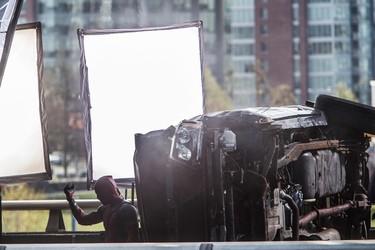 Crews block off the Georgia Viaduct to film a scene for the movie Deadpool staring Ryan Reynolds, Vancouver, B.C. on Tuesday April 7, 2015. Carmine Marinelli/QMI Agency