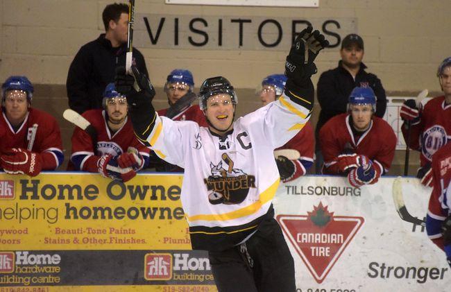 Tillsonburg Thunder captain celebrates as the buzzer sounds on Saturday night's WOAA AA senior hockey playoff game against Mapleton Minto in Tillsonburg. The Thunder clinched the best-of-seven championship series 4-1 with Saturday's 5-1 victory. (CHRIS ABBOTT/TILLSONBURG NEWS)