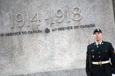 OTTAWA - April 9, 2015 - Sentries stand guard at Canada's National War Memorial Thursday morning April 9, 2015, as opening ceremonies kick off the official 2015 program.  DANI-ELLE DUBE/OTTAWA SUN