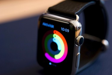An Apple Watch is seen on display at an Apple Store in Berlin April 10, 2015.  REUTERS/Stefanie Loos