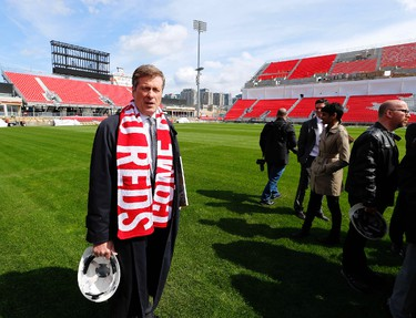 Toronto Mayor John Tory as he toured the new renovations at BMO Field in Toronto  on Friday April 10, 2015. Michael Peake/Toronto Sun