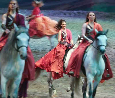 Mississauga's Amanda Orlowski (centre) performs in Odysseo, in Toronto on Tuesday, April 7, 2015. Veronica Henri/Toronto Sun/QMI Agency
