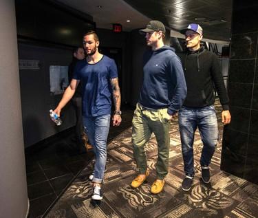 Toronto  Maple Leafs Jonathan Bernier (L) Peter Holland and  Richard Panik arrive at ACC for locker clean out in Toronto on Monday April 13, 2015. Craig Robertson/Toronto Sun