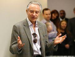 Postmedia Paul Godfrey addresses Toronto Sun employees at 333 King St. E. on Tuesday, April 14, 2015. (Michael Peake/Toronto Sun)
