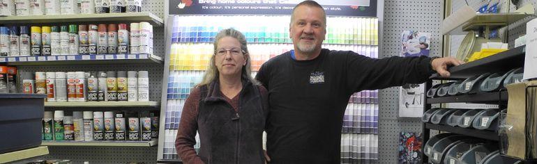 Julie and Doug Wade at Main Street hardware.