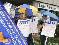 Ontario Secondary School Teachers' Federation picket Minister Laurel Broten's Constituency office located in Etobicoke ,on Friday September 14, 2012, in Toronto. (Veronica Henri/Postmedia Network)