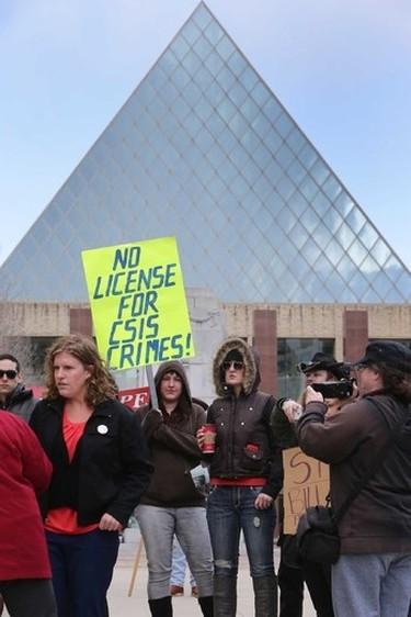 Over 100 people attend a C51 protest at Churchill Square in Edmonton, Alberta on Saturday April 18, 2015. Perry Mah/Edmonton Sun/Postmedia Network