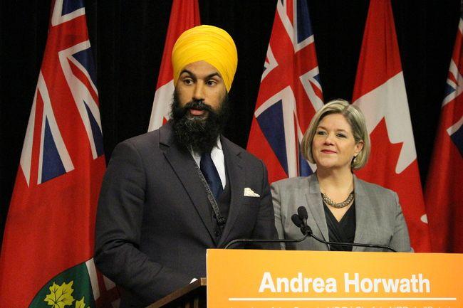 MPP Jagmeet Singh with NDP Leader Andrea Horwath as he's named party deputy leader Monday, April 20, 2015. (Antonella Artuso/Toronto Sun)