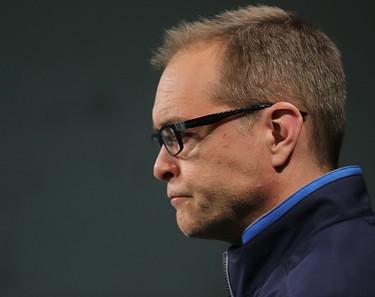 Winnipeg Jets head coach Paul Maurice speaks with the media in Winnipeg, Man. Tuesday April 21, 2015. Brian Donogh/Winnipeg Sun/Postmedia Network