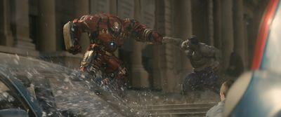 Iron Man's Hulkbuster suit (Robert Downey Jr.) vs. Hulk (Mark Ruffalo).